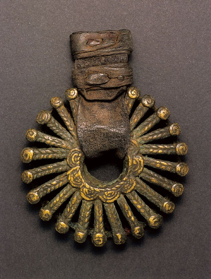Africa   Sun pendant from the Dogon people of Mali   Bronze alloy and leather