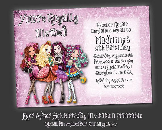 Ever After High - Birthday Party Invitation Printable - Made to Print at 5x7 - Lilac on Etsy, $6.00
