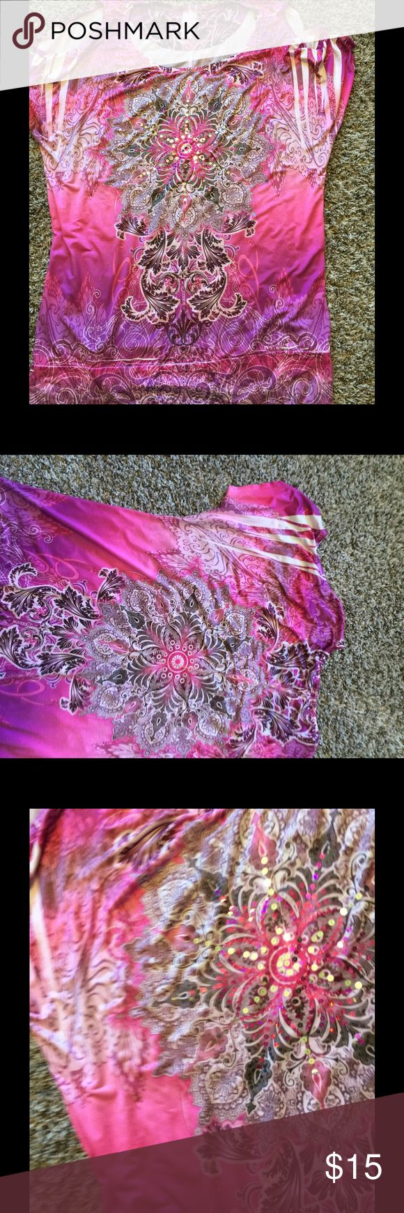 Cold shoulder Pink women's top 2X Beautiful pink with sequin design.  Size 2X Tops Blouses