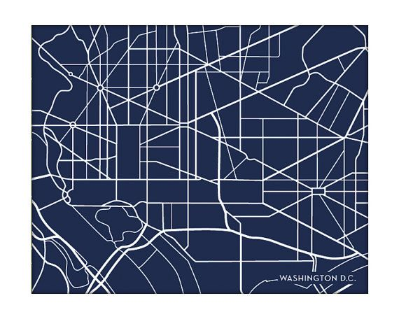 Washington DC City Map Art Print