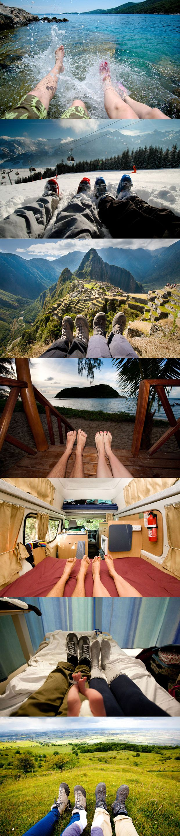 A collection of photographs by London photographer Tom Robinson that documents the couple's travels over six years by just showing their feet and location. Great twist with the addition of a third pair of feet along the way... their daughter. #photography #travel #feet #family_picture #photo_journal