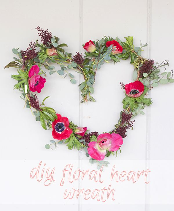 DIY: Floral Heart Wreath | theglitterguide.com  you know if we have nothing to do Friday the 7th.