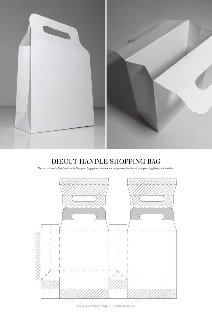 Diecut Handle Shopping Bag – structural packaging design dielines