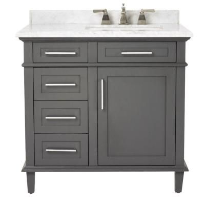 Home Decorators Collection Sonoma 36 in. Vanity in Dark Charcoal with Marble Vanity Top in White-8105100270 - The Home Depot