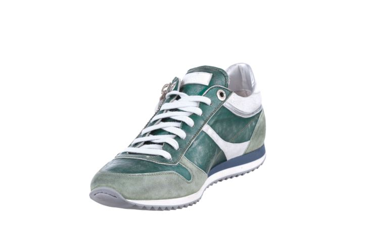 RUNNING SNEAKER IN GREEN TEXTURE METAL LEATHER AND SUEDE, WITH ZIP #Corvari #shoesofthemonth #sneakers #ss2014