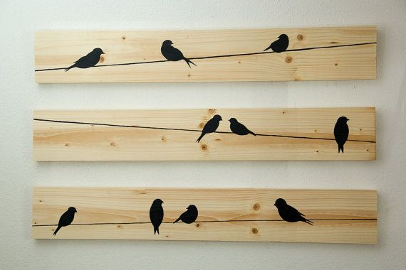 This is the perfect addition to any bedroom, family room, bathroom, baby room, or kitchen! Three piece set made from wood. Each piece is stained with a natural stain, and the black birds are hand-painted with love! Looking for more color? Check out my other Birds on a Wire pieces in my shop! Dimensions of each board are 3ft x 5.5in. Boards are not attached to one another to allow for customization of position/layout in your home. Each board has hooks already installed to the back, and...