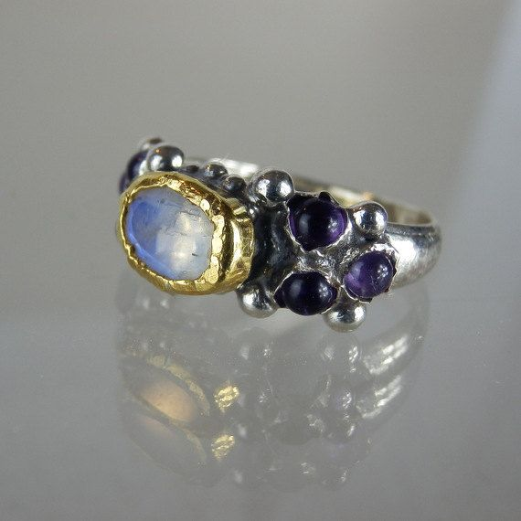 Hey, I found this really awesome Etsy listing at https://www.etsy.com/listing/215972178/moonstone-ring-amethyst-jewelry-purple