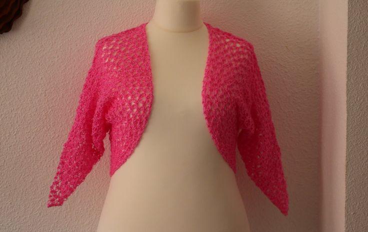 Como hacer bolero con mangas fácil y rápido a crochet.