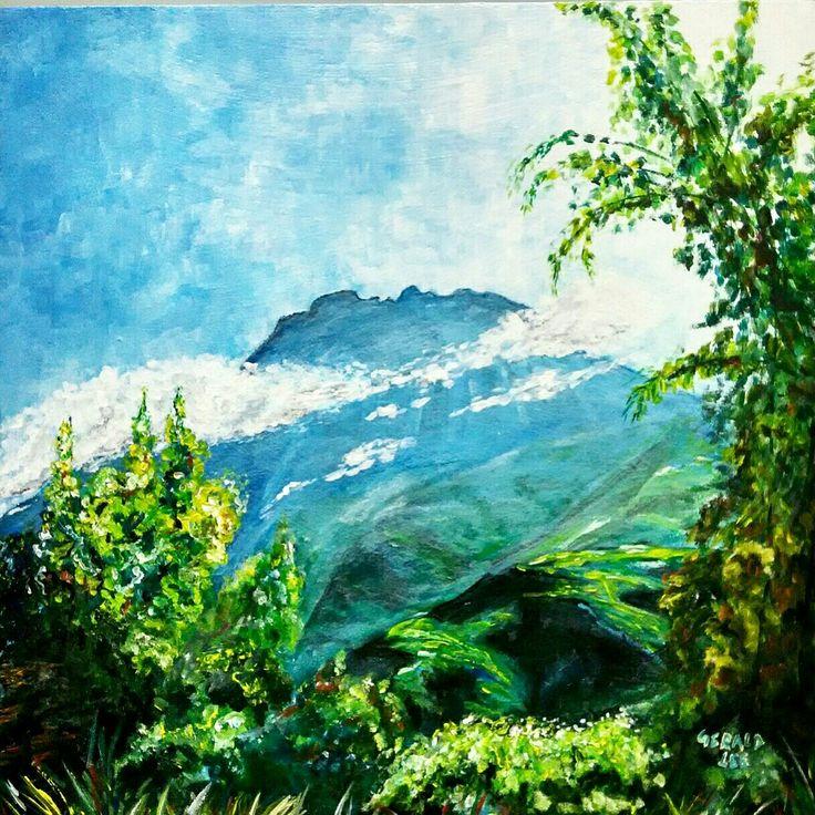Acrylic,-- Mount Kinabalu