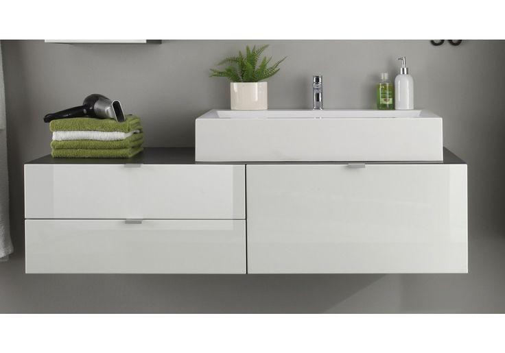 Waschbeckenunterschrank mit Aufsatzwaschbecken weiss hochglanz tiefgezogen/ grau Woody 93-00769