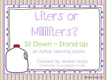This 20 slide Powerpoint Slideshow offers 2nd, 3rd, and 4th grade students with a fun activity to practice determining the appropriate metric measurement for capacity. In this slideshow, students decide if the capacity of a given object on each slide should be measured in liters or milliliters.