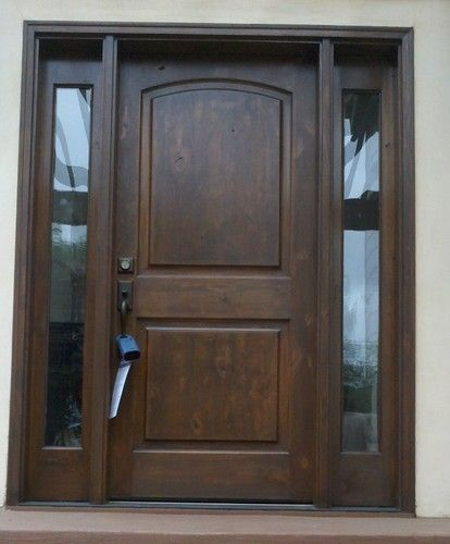Knotty alder front entry doors with 2 full sidelights pre for Solid wood front doors