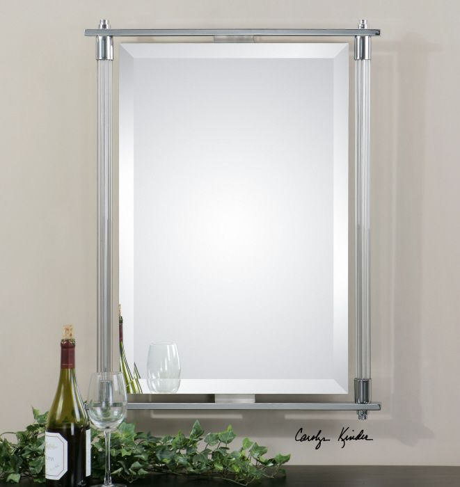 Uttermost Adara Vanity Mirror  Ribbed glass columns accented with polished  chrome plated details. 130 best Uttermost Mirrors images on Pinterest