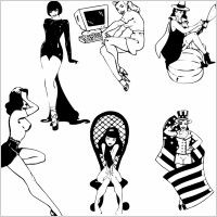 sexy black and white silhouette vector