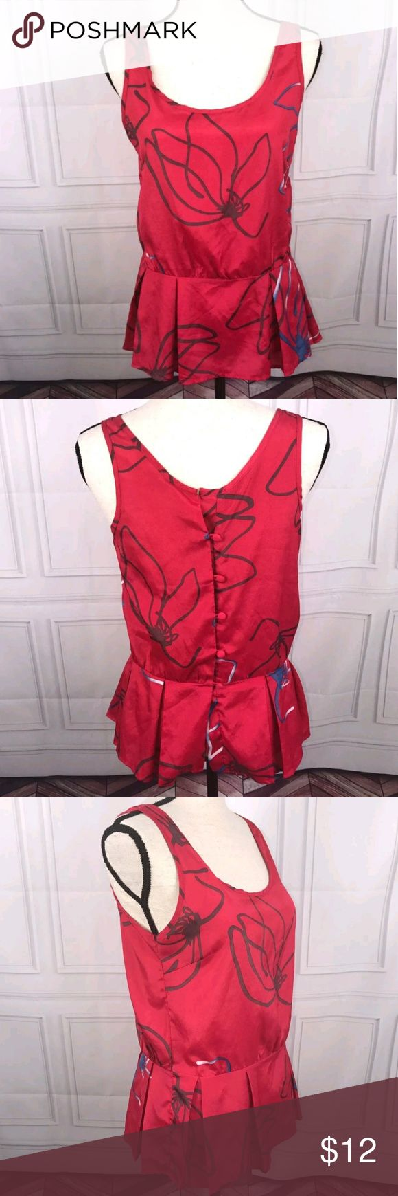 Charlotte Russe Medium Red Sleeveless Blouse Charlotte Russe Medium Red Sleeveless Peplum Blouse  Very good used condition  See pictures for additional details, flaws (if any), fabric content, cleaning instructions and measurements.  Thank you for looking at my store! Charlotte Russe Tops Blouses
