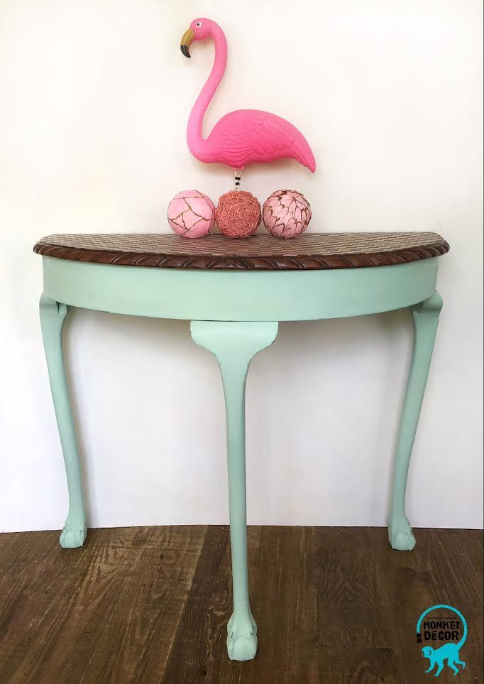 shabby chic mint half moon table with check pattern and flamingo