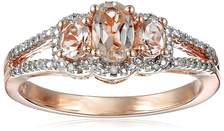 10K Rose Gold Morganite Oval with White Diamond Ring, Size 8