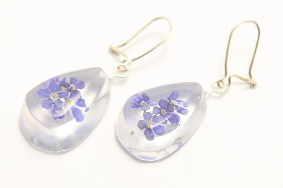 Resin earrings: drops with forget-me-not flowers on by pulchrapl
