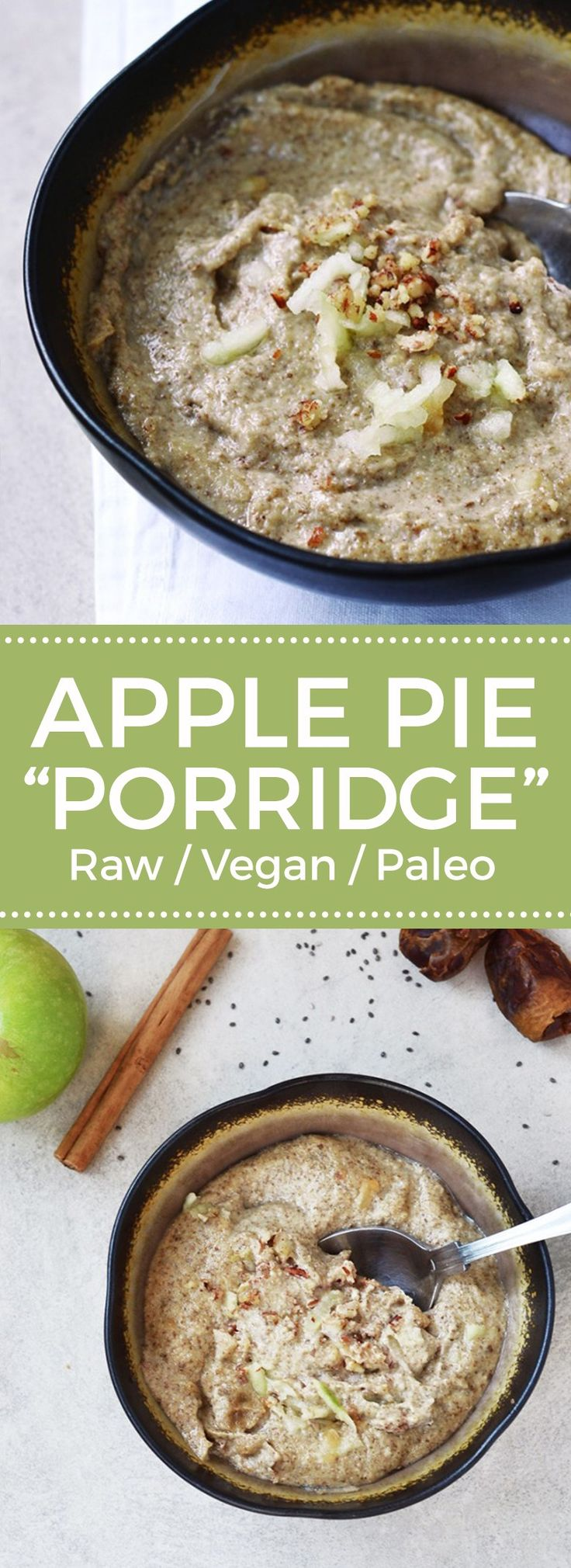 A warm, comforting chia seed porridge that's quick and easy to make. Apples and cinnamon are added to give a delicious apple pie flavour!