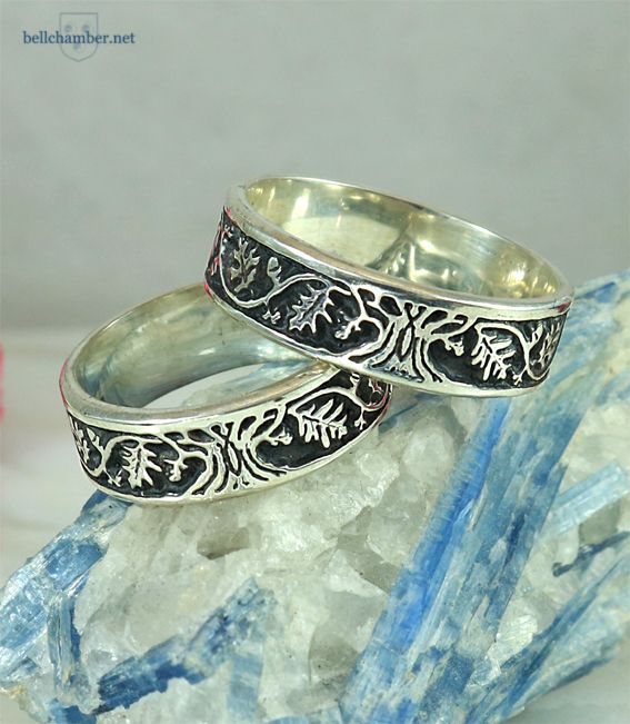 Three Oak Tree of Life rings in antiqued sterling silver.  Handmade for $295 USD for the pair.