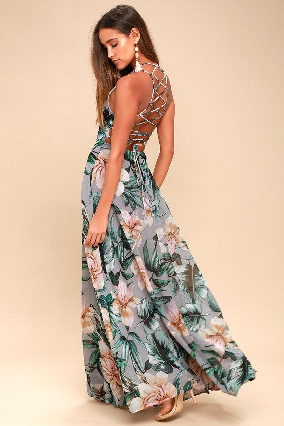 Lulus Exclusive! Love is in the air and it's leading us right to the Love Abloom Grey Floral Print Lace-Up Maxi Dress! Dreamy, lightweight Georgette, with a pink, beige, and green floral print, sweeps across a princess-seamed bodice, strappy apron neckline, and lacing open back. Full maxi skirt has a bit of elastic at back. Hidden back zipper.