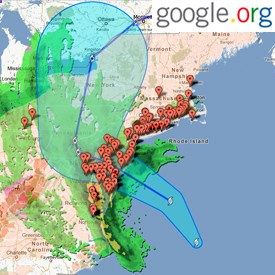Interactive Hurricane Sandy Crisis Response Map by Google: Not just a static map, the sidebar controls feature traffic condition overlays, neighborhood flooding zone estimates, satellite-resolution cloud imagery, high wind probability graphics, area webcams with a peek at real-time conditions (and associated YouTube videos), and a wealth of other information, all interactive and updated as the storm progresses. via pcmag. Here is the link google.org/... #Hurricane_Sandy
