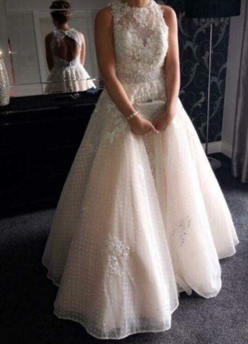 b8bbf01208b Details about Size UK 8 Vintage Ivory Prom Dress