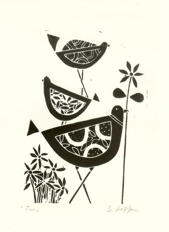 Black birds art linocut original lino print black and red flower scandinavian style lino block print