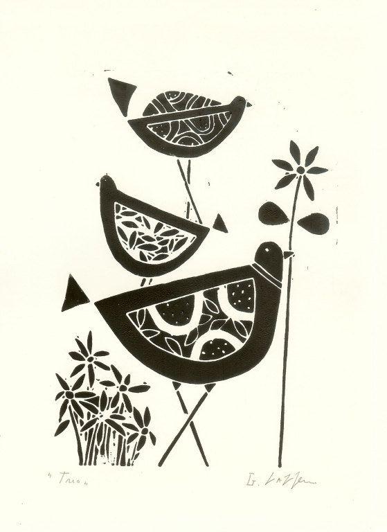 Black Birds Linocut- Original Lino Print, Black & White Scandinavian Style Lino Block Signed