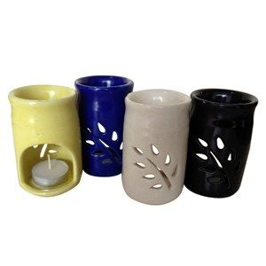 Aroma Oil Lamp (Small) is a hand crafted ceramic article 2.5 inch in diameter, 4 inch in height and with a water holding capacity of 70 ml approximately. It can diffuse fragrance up to 4 hours without the need for refilling. Available in assorted colors.