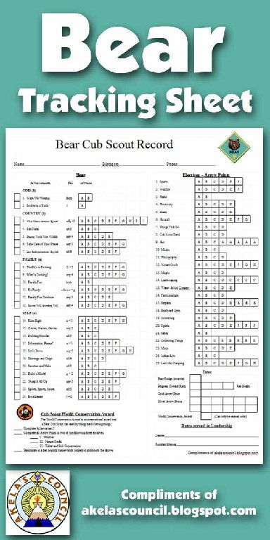 Need a way to track BEAR, Arrow Points, Progress Towards Rank beads, and Gold & Silver Arrow Points requirements? This is a great PRINTABLE Tracking sheet. This site has other tracking sheets and a lot of great Cub Scout Ideas compliments of Akela's Council Cub Scout Leader Training.