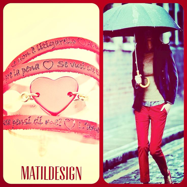 Leather bracelet, heart, love, Made in Italy, cuore, bijoux matildesign, moda, rosso