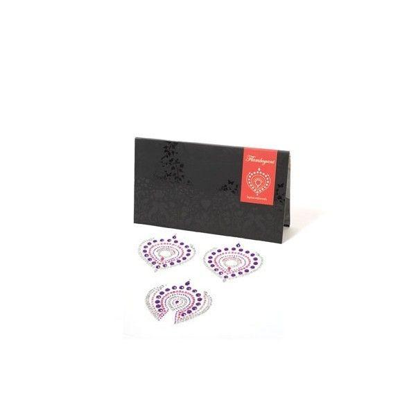 biżuteria do ciała Bijoux Indiscrets - Flamboyant, różowo-fioletowe || Uwodzenie jest najlepsze, gdy uwodzisz go sobą... ||  #biżuteria #biżuteriaerotyczna #naklejki #diamenty #kryształki #pawiepióra #prezent #inspiracje #dlaNiej #dla Niego #prezentnarocznicę #striptiz #grawstępna #wieczórpanieński #pomysłnarandkę #odAlicji #namiętnybutik