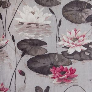 lilies : floral : grey : pink :  Hertex Collections
