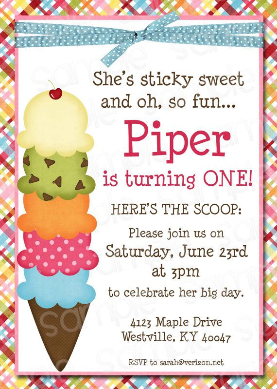 Ice Cream Themed Birthday Party Invitation