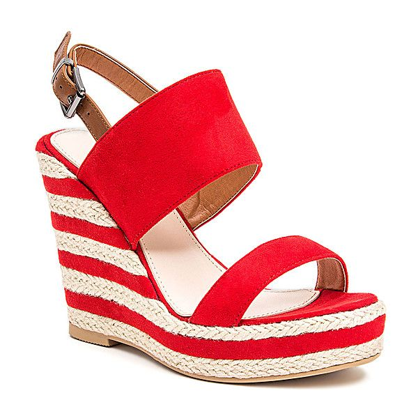 French Blu Red Sailor Wedge (€27) ❤ liked on Polyvore featuring shoes, plus size, wedge espadrilles, red shoes, high heel platform shoes, red espadrilles and red espadrille shoes