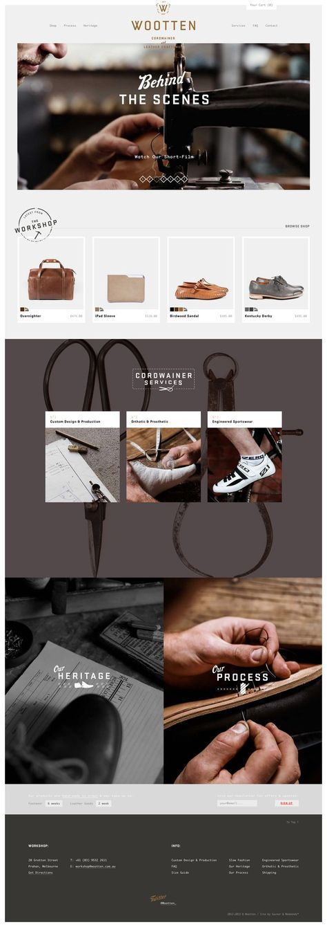 A well-made web design that really showcases the classic vibe of this clothing company!