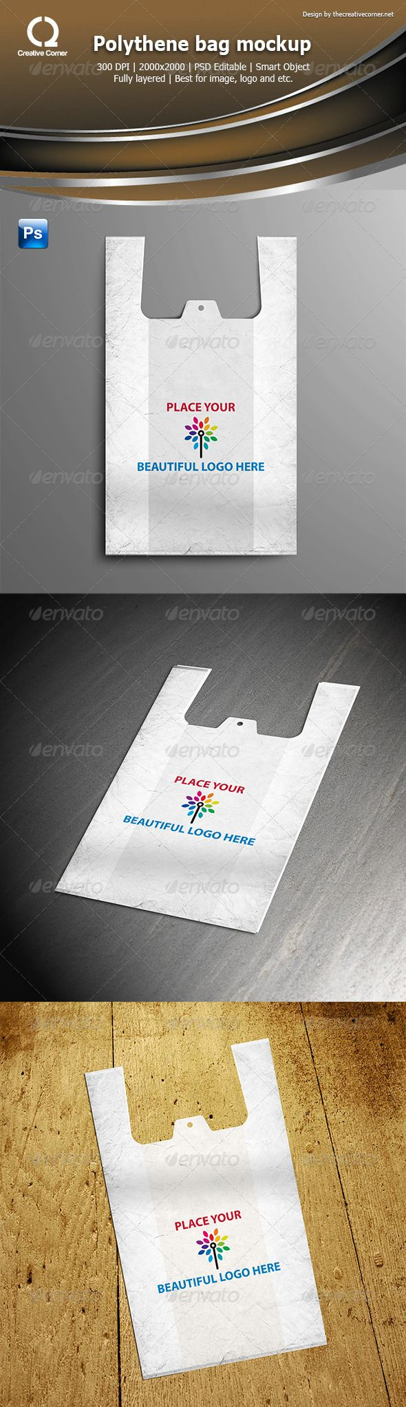 Polythene bag mockup  #GraphicRiver         easy to use smart objects high quality different styles 300dpi easy change background color and gradients  	 Files Included: 3 PSD (2000×2000 Pixels)  	 ——-———-———-——-——  	 How To Use : First Open PSD File In Photoshop , find place holder layer and then Dubble Click On The Place Holder Layer , Now From File > Open , Select Your Image And Click On The Open . Now File > Save And Then Click One The Close > Preview     Created: 1June13…