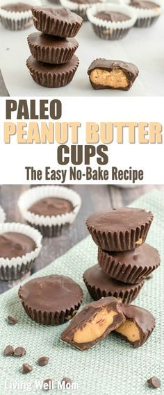 This recipe for no-bake homemade Paleo Peanut Butter Cups is easy to make and will satisfy any craving for peanut butter cups! You'll love that it's healthier than traditional versions with no grains, dairy, soy, or legumes, and less sugar. This easy recipe is a favorite with kids too, if Mom wants to share that is!