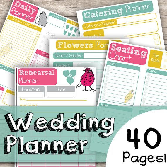 Wedding Planner 40 Page Bundle - Cute Hand Drawn Animal Illustrated - 40 Documents - Instant Download pdf