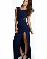 boohoo Lace Back Front Thigh Split Maxi Dress - navy Floaty, floor-sweeping and fashion- forward, the maxi dress is the most-wanted way to make waves this season. Column maxis are cool, drop waist's directional and bold prints bad ass, but easy to wear  http://www.comparestoreprices.co.uk/dresses/boohoo-lace-back-front-thigh-split-maxi-dress--navy.asp