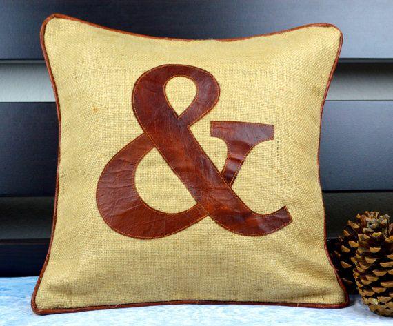 Burlap Pillows Leather Pillows Patio Pillow By SageMadeDesign