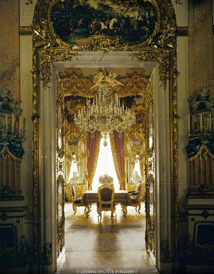 NEO-BAROQUE INTERIORS:ALL 19TH   Dollmann,Georg von  Dining-room with the magic table which was raised from the kitchen. Herrenchiemsee Palace, built 1879-1881 by order of Ludwig II of Bavaria in homage to Ludwig XIV on Herrenchiemsee Island in Chiemsee Lake, Bavaria.   Palace, Herrenchiemsee, Germany