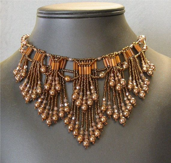Instructions to create a beautiful choker necklace with a double layer of fringe. Fun and easy to create. Instructions include two color-ways, or use