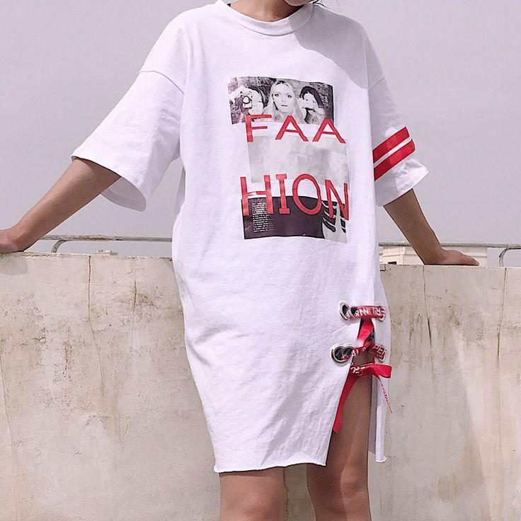 原宿系ロゴ半袖レースアップロング丈Tシャツサイドスリット