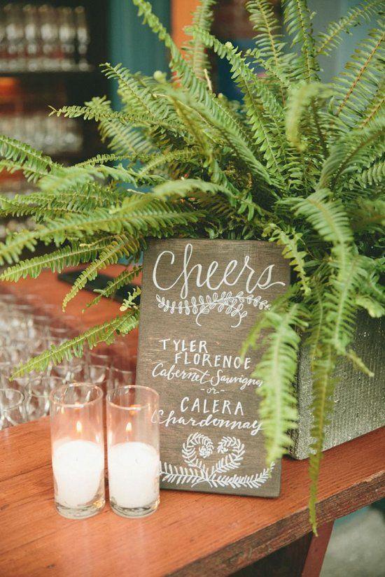 rustic green ferns wedding decor ideas / http://www.deerpearlflowers.com/greenery-fern-wedding-ideas/