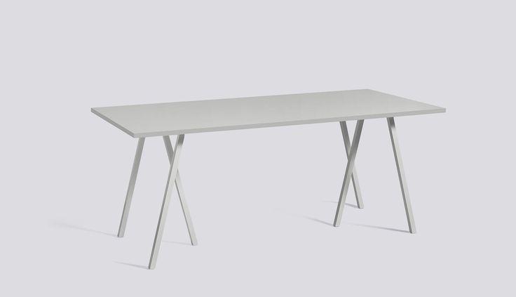 Loop Stand Table Grey L180 x W87,5 x H74 Grey linoleum / Grey ash edge - HAY