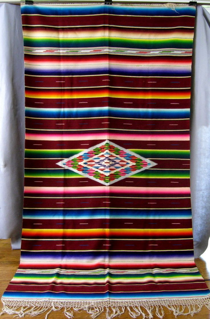 Vintage Mexican Saltillo Serape Blanket Rug c.1940 Rich Burgundy Wine & Sunset Colors