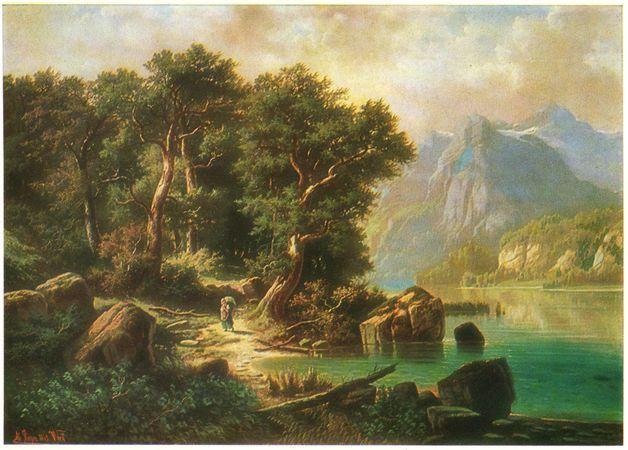 Открытки с репродукциями: Альберт Ригер (1834-1905) - «Горный пейзаж с озером»