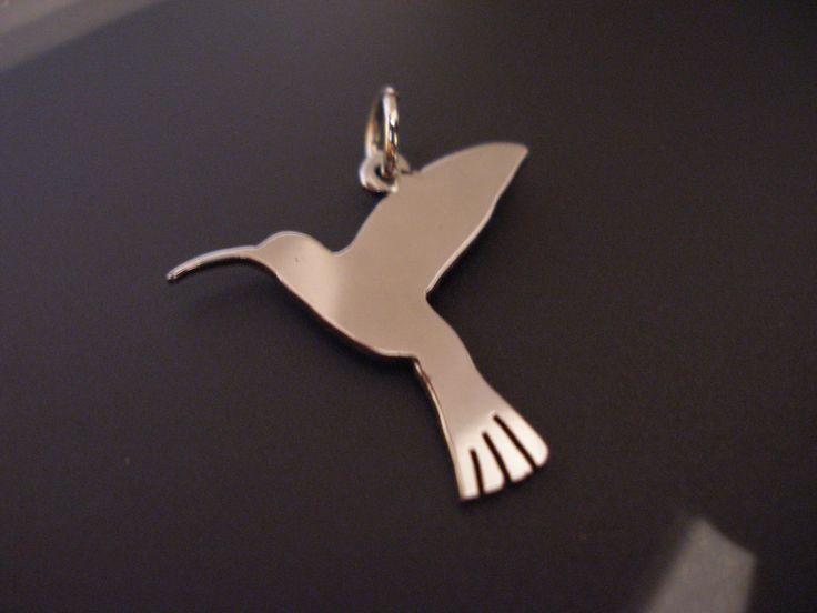 sterling silver hummingbird  pendant . 25mm x 20mm handmade 925, £14.99